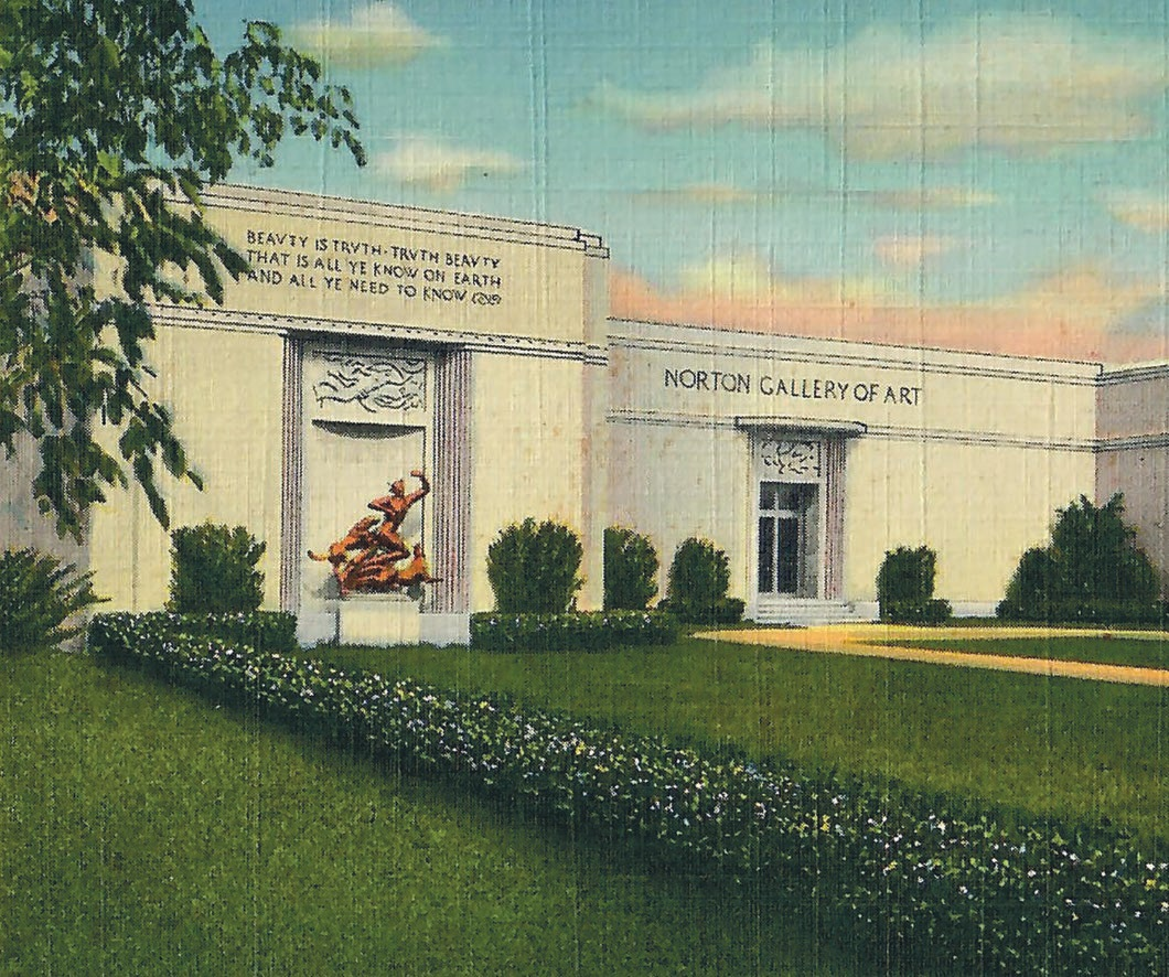 A 1941 postcard showing the Norton Museum of Art